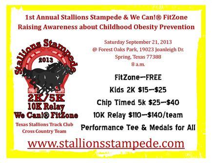 Stallions Stampede 2K/5K Fun Run Walk, 10K Relay and We Can!® FitZone