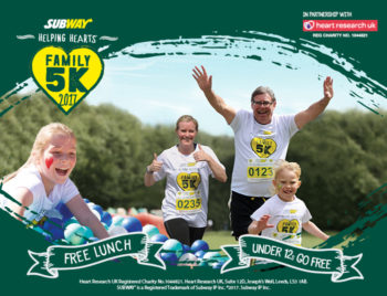 SUBWAY Helping Hearts™ Family 5K fun run, 18th June 2017