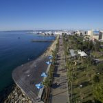 Aerial view of Molos, start and finish of Limassol Half Marathon