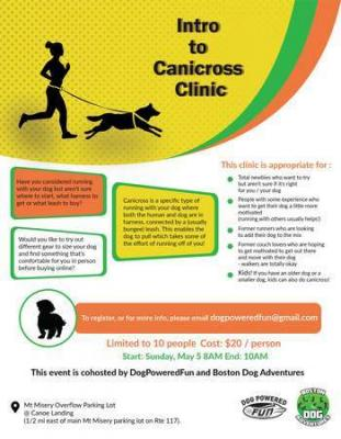 Bring your dog! Canicross Clinic, Sun, May 5th 8am, Mount Misery, Lincoln.